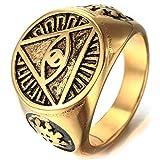YABENI Mens Piramide del Triangolo di Simbolo dell'occhio di Colore dell'oro di Anello in Acciaio Inox con Brands Pouch