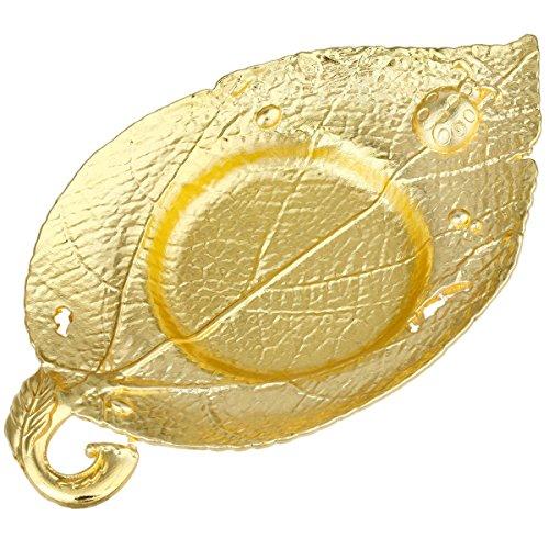 mookaitedecor Metall Drink Untersetzer Set von 4, Tee Licht Kerzenhalter Home Tisch Schutz Dekoration Leaf Shape - Gold Color