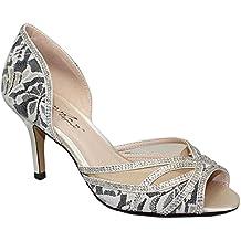 ZAFIRO BOUTIQUE FLR358 ZARA Malla Para Dama Diamante Peep Toe Sin Cordones Bajos Zapatos De Salón
