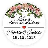LYLY 50 Stück Aufkleber Personalisiert Schön, dass du da bist, mit Blumen Herz 4 cm Durchmesser Etiketten Sticker Hochzeit Gästebuch Einladung Taufe Süßigkeiten Taschen Vintage Flasche, Schwarz