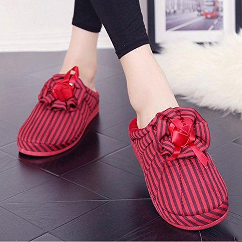 Hiver pantoufles en coton à talons hauts femelle belle base épaisse chaussures à talons à la maison fleurs pantoufles pantoufles chaudes pente ( couleur : N ° 3 , taille : 35-36 ) # 4
