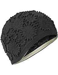 Black Daisy Flower Ladies Swimming Hat Bathing Cap Fashy