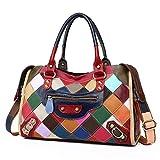 KELUINA Multicolor Patchwork Suave Bolso de cuero real Bolso Bandolera Bolso cruzado Hobo bolso Diseñador Monedero para mujeres/Señora