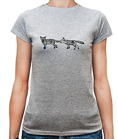 Mesdames T-Shirt avec Two Playful Foxes Illustration imprimé. Col ras