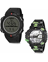 Hupshy® Digital Round Dial Men's Watch / Trendy Men's Watches / Watches For Men (Pack Of 2) Combo CMB1502