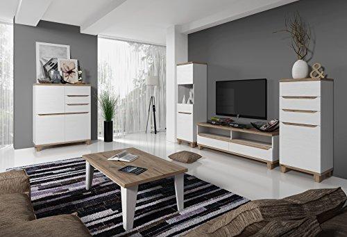 tendencio Salon Complet Lier Style scandinave Nordique - Blanc et Bois