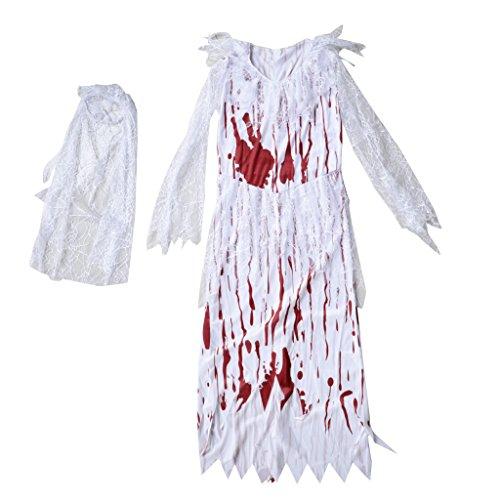 Baoblaze Spitze Cosplay Kostüm Halloween Kostüm Faschingkostüm Damenkostüm, Blutige Zombie Braut...