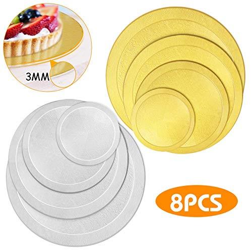 WisFox 8er Set Cake Board Rund 3 MM Tortenunterlage beschichtet Kuchenplatte Tortenplatte Cakeboard Tortenunterlage Cake Drum 6 8 10 12 Inch-Gold & Silber