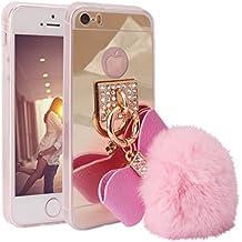 Funda Espejo iPhone 5s,Carcasa Tpu Silicona Lujo Aluminio Delgado Espejo Metal para iPhone SE/5/5s Caso Case Mirror Effect Maquillarse Bumper Back Shell Cubierta Con Gancho Diseño de Lazo con Bola del Conejo-Rosa