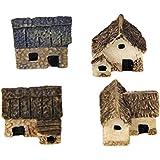 Mengonee 4pcs Kit Miniatura Hada del jardín de Piedra Casas Mini Cottage Casa Decor miniaturas Accesorios Jardinería Decoraci