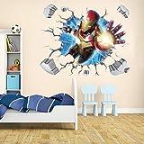 KUIMMA Stickers Muraux Dessin Animé 3D Stickers Muraux Iron Man Avengers Living Room