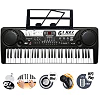 61 Key Electronic Keyboard Digital Piano Workstation MP3 Music Instrument With Microphone, USB Port & UK Main Plug by Crystals®