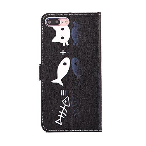 Etsue Handytasche für iPhone 7 Plus (5.5 Zoll) 2016 schwarz, Brieftasche Hülle für iPhone 7 Plus (5.5 Zoll) 2016 [Sonnenblume] Muster Lederhülle Handyhülle Einzigartig Flip Hülle Leder Schutzhülle Vin Fisch,Katze