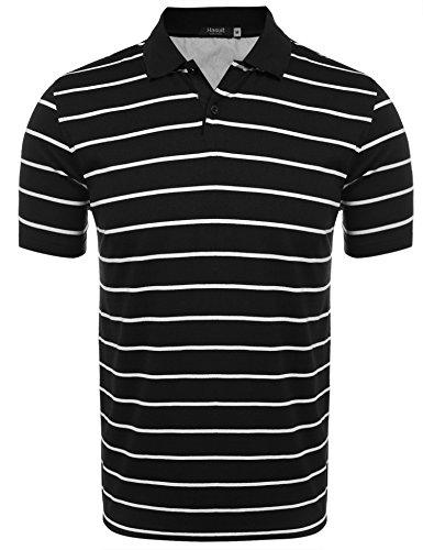 Hasuit Herren Poloshirt Gestreiftes Polohemd Slim Fit Schwarz