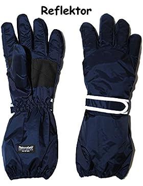 alles-meine.de GmbH Fingerhandschuhe - Thermo - mit langem Schaft -  dunkel BLAU  - Größe: 5 Jahre bis Erwachsene...