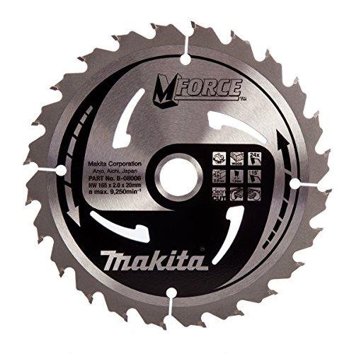 Makita B-08006 M Force Lame de scie circulaire pour couper le bois, 24dents, 165 x 20 mm-Rouge/argent