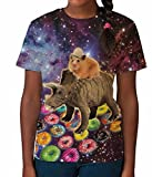 Hamster Riding Dinosaur in Space Funny Donuts Girls Unisex Kids Child T Shirt