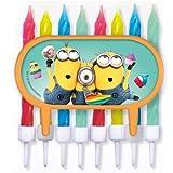 Minions – Tortendeko / Cupcake Deko mit bunten 8 Kerzen – Ich einfach unverbesserlich - Geburtstag & Party