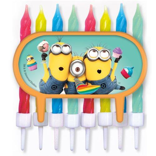 Minions - Tortendeko / Cupcake Deko mit bunten 8 Kerzen - Ich einfach unverbesserlich - Geburtstag & Party