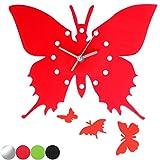 Jago Wanduhr im Schmetterling-Design in 4 verschiedenen Farben mit Wandtattoos aus Aluminium und Acryl