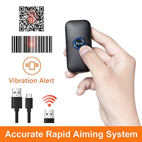 Tera Mini Barcode Scanner Wireless Barcodescanner kompatibel mit Bluetooth 2D 1D QR USB Handscanner Bildschirm automatisches Abtasten mit Vibration Warnen (Deutsche Anleitung) -