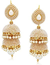 Amaal Jewellery Gold Plated Pearl Jhumka Earring Ear Rings For Girls Women Earring Necklace Jewellery Jhumki-J0142