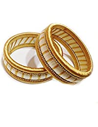 N K CreationsBangles Collection (Silk Thread Bangles For Women ,Color-White & Golden Color,Size-2.8)
