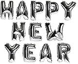 DekoRex® Happy New Year Girlande Buchstaben Ballons Folienballons Luftballons Silvester Neujahr Höhe: ca. 40cm in Silber