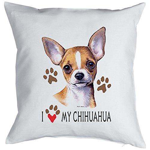Kissen mit süßem Hunde Motiv - I love my Chihuahua - Hundebild - Geschenk für alle Tierliebhaber und Hundefans - weiss