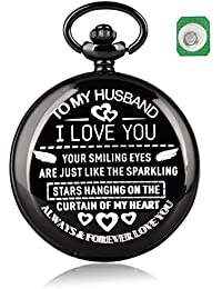 Retro Pocket Watch and Chain for Men, Engraved Words Mens Quartz Pocket Watch with Battery and Nylon Bag Pendant Gift for Husband
