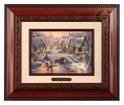 Thomas Kinkade Studios Mickey und Minnie Sweetheart Holiday Bürstenkopf, 12,7 x 17,8 cm -