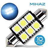 Mihaz 10x 36mm CAN-Bus senza errori del festone 6SMD W5W C5W 5050 LED SMD lampadine per luci interne auto o targa a LED Bulbi (10 * 36mm 6SMD)