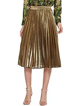 Quge Mujeres Faldas Plisada Casual Plain Midi Falda Metálica De Cintura Elástica