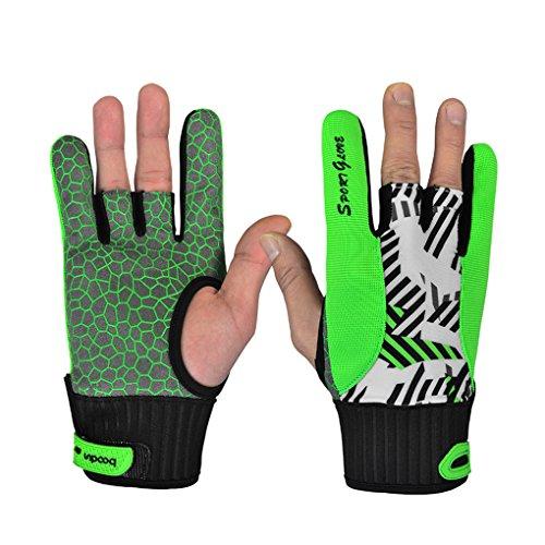 Providethebest BOODUN Anti-Rutsch-Bowling blove Bequeme Halbfinger Silikon-Druck Anti-Rutsch-3 Cut Sport-Handschuhe Grün L