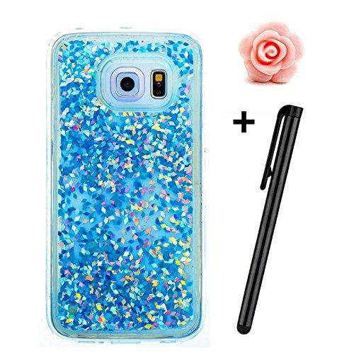 Samsung Galaxy S6 Hülle Glitzer,Galaxy S6 Flüssig Schutzhülle,TOYYM Flexibel Weich Klar Krystal Transparent Handyhülle Bling Fließen Flüssigkeit Handy Hülle Case mit Kreativ Karikatur Muster,Silikon T Blau