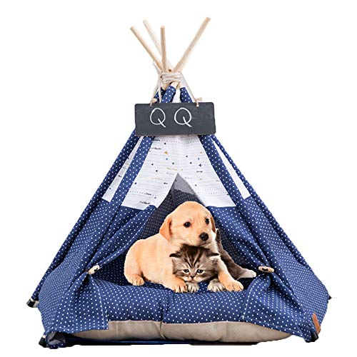 Arkmiido Haustier Tipi Hund & Katze Bett mit Kissen Hund Zelte & Pet Houses mit Kissen & Tafel (Blau) (Blaue Tafel)