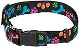 CHAPUIS SELLERIE SLA472 Verstellbares Hundehalsband - Nylongurt mit schwarzen Tatzen - Breite 25 mm - Länge 46-66 cm - Größe XL