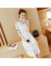 95c22617c0 La versión coreana del verano de encaje de manga corta vestidos faldas  largas