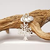 Lebensbaum...Kette mit Initialen, personalisierte Kette mit Gravur, 925er Silberkette mit Gravur, Familienkette, echt Silber