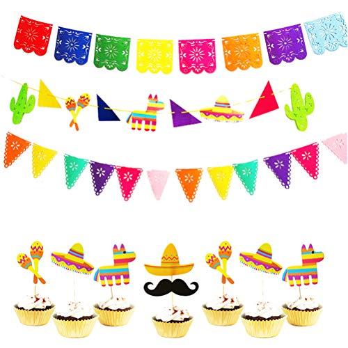 LUOEM Mexicano Decoraciones para Fiestas Kit Cactus Sonajero Alpaca Sombrero Bunting Banner Fiesta Cupcake Toppers para Hawai Luau Verano Piscina Cumpleaños Suministros para Fiestas de Boda