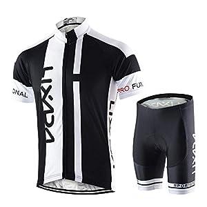 Lixada Hombres Maillots de Bicicleta Conjunto de Ropa de Ciclo Jersey de Manga Corta + Pantalones Cortos Acolchados Cómodo Respirable Secado rápido