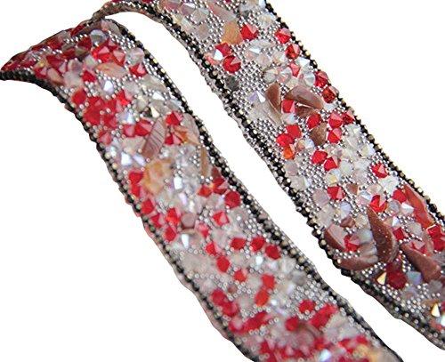 Panda Legends 1 Yard Red Strass Trim Perlen Band Nähen Applique Kette für DIY Hochzeitskleid Schuhe Tasche Kostüme (Nähen Sie Ein Panda Kostüm)