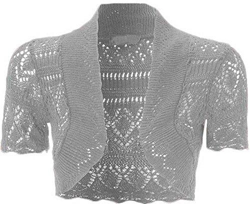 Cardigan ouvert à lavant à manches courtes en tricot, crochet, boléro court pour femme Gris