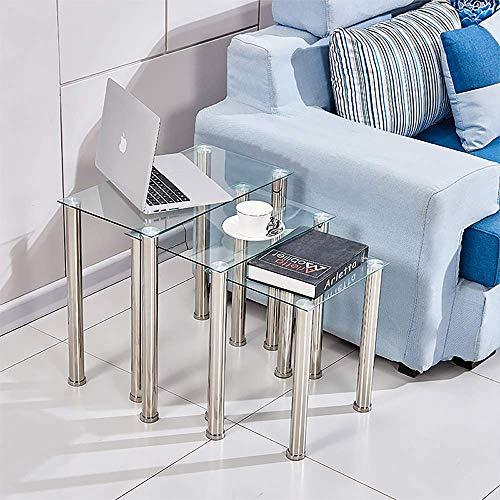 Huiseneu - Juego 3 mesas Nido Cristal sofá, Mesa