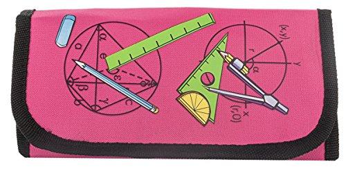 MW Handel PI Zirkel- und Mathematik-Set im praktischen Etui mit Klettverschluss, 12-teilig, pink