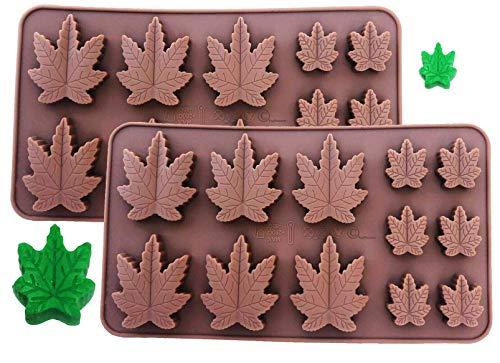 Set mit 2 x Silikon Marihuana Lollipop Gummy Brownies Had Candy Cannabis Weed Essbare Blätter Form Eiswürfel Schokolade Seife Kerzen Tablett Party Maker Brown Marijuana (2 Pack)
