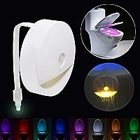 Lampe Toilette Veilleuse LED Détecteur - de Mouvement Eclairage Lampe Toilette WC LED pour Salle de Bain/Seau d'aisances/toilettes/Cabinet 8 Couleurs avec divers modèles de changement