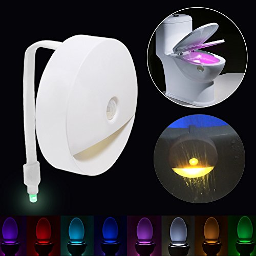 WC-Schüssel Light Sensor Motion aktiviert Badezimmer LED WC-Nacht Licht 8Farben Leuchte (Motion Schnuller)
