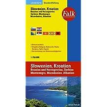 Falk Länderkarte Slowenien / Kroatien / Bosnien-Herzegowina / Serbien und Montenegro / Makedonien / Albanien 1:750 000
