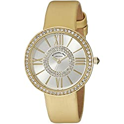 Stuhrling Original Vogue Women's Quartz Watch with Silver Dial Analogue Display and Beige Leather Strap 566.04